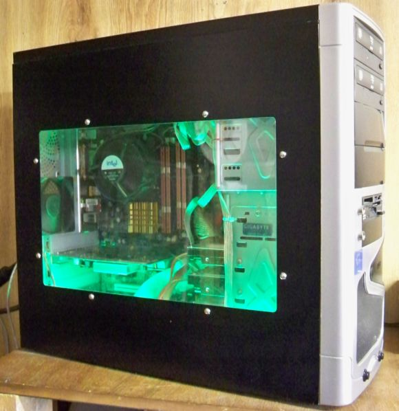 Custom pc w/ green light installed